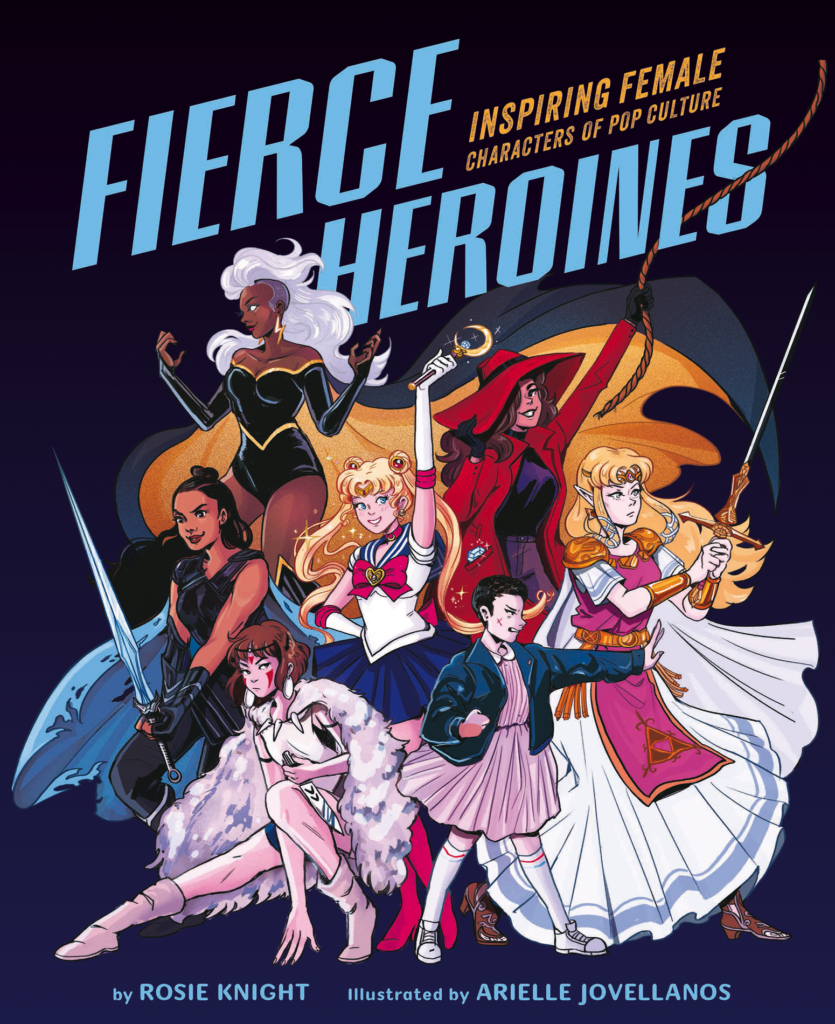 A cover for Fierce Heroines shows Storm, Carmen Sandiego, Zelda, San, Valkyrie, Eleven, and Usagi